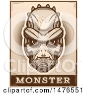 Lizard Man Head Over A Monster Banner In Sepia