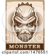 Poster, Art Print Of Lizard Man Head Over A Monster Banner In Sepia