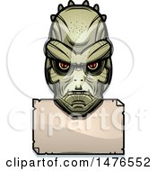 Lizard Man Head Over A Blank Sign