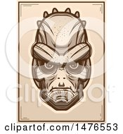 Clipart Of A Lizard Man Sepia Poster Royalty Free Vector Illustration