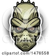 Clipart Of A Lizard Man Head Over Halftone Royalty Free Vector Illustration