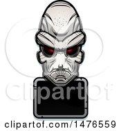 Poster, Art Print Of Alien Head Over A Blank Sign