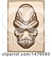 Poster, Art Print Of Alien Head Sepia Poster
