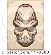 Clipart Of An Alien Head Sepia Poster Royalty Free Vector Illustration