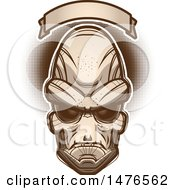 Poster, Art Print Of Alien Head Under A Blank Banner