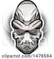 Poster, Art Print Of Alien Head Over Halftone