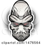 Clipart Of An Alien Head Over Halftone Royalty Free Vector Illustration by Cory Thoman