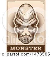Poster, Art Print Of Alien Head Over A Monster Banner In Sepia