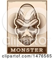 Clipart Of An Alien Head Over A Monster Banner In Sepia Royalty Free Vector Illustration