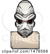 Alien Head Over A Blank Sign
