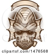 Clipart Of A Creature Head Under A Blank Banner Royalty Free Vector Illustration by Cory Thoman