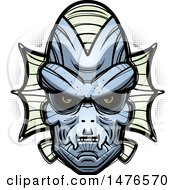 Clipart Of A Creature Head Over Halftone Royalty Free Vector Illustration by Cory Thoman