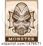 Poster, Art Print Of Creature Head Over A Monster Banner In Sepia