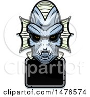 Poster, Art Print Of Creature Head Over A Blank Sign