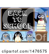 Clipart Of A Professor Penguin With Students And A Back To School Blackboard Royalty Free Vector Illustration