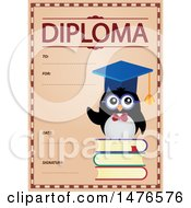 Clipart Of A Diploma Design With A Penguin Royalty Free Vector Illustration by visekart