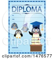 Clipart Of A Diploma Design With Penguins Royalty Free Vector Illustration by visekart