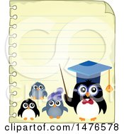 Clipart Of A Professor Penguin With Students On A Sheet Of Paper Royalty Free Vector Illustration