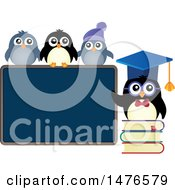 Clipart Of A Professor Penguin With Students Royalty Free Vector Illustration