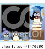 Clipart Of A Professor Penguin With Students Royalty Free Vector Illustration by visekart