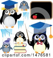 Clipart Of Professor And Student Penguins Royalty Free Vector Illustration