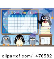 Clipart Of A School Time Table With Penguins Royalty Free Vector Illustration by visekart