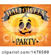 Clipart Of A Jackolantern Pumpkin Over Rays With Halloween Party Text Royalty Free Vector Illustration by visekart