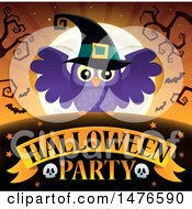 Clipart Of A Halloween Party Design With A Witch Owl Royalty Free Vector Illustration