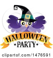 Clipart Of A Halloween Party Design With A Witch Owl Royalty Free Vector Illustration by visekart