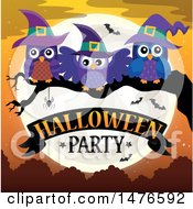 Clipart Of A Halloween Party Design With Witch Owls Royalty Free Vector Illustration by visekart