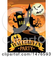 Clipart Of A Halloween Party Design With A Haunted House And Jackolantern Pumpkin Royalty Free Vector Illustration by visekart