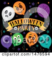 Clipart Of A Halloween Party Design With Balloons Royalty Free Vector Illustration by visekart