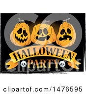 Clipart Of A Halloween Party Design With Jackolantern Pumpkins Royalty Free Vector Illustration by visekart