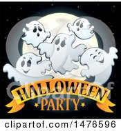 Clipart Of A Halloween Party Design With Ghosts Royalty Free Vector Illustration by visekart