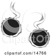 Two Hot Bullet Holes Through Metal Smoking Clipart Illustration