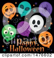 Clipart Of A Happy Halloween Greeting With Party Balloons Royalty Free Vector Illustration by visekart