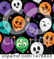 Clipart Of A Seamless Pattern Of Halloween Party Balloons Royalty Free Vector Illustration by visekart