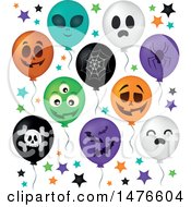 Clipart Of A Halloween Party Balloons Royalty Free Vector Illustration by visekart