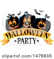 Clipart Of A Halloween Party Design With Jackolantern Pumpkins And Bats Royalty Free Vector Illustration
