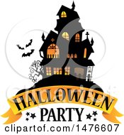 Clipart Of A Halloween Party Design With A Haunted House Royalty Free Vector Illustration