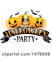 Clipart Of A Halloween Party Design With Jackolantern Pumpkins And Bats Royalty Free Vector Illustration by visekart