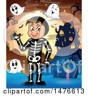 Clipart Of A Man In A Skeleton Halloween Costume With Ghosts Royalty Free Vector Illustration by visekart