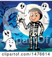 Man In A Skeleton Halloween Costume With Ghosts