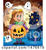 Girl In A Jackolantern Costume With Ghosts In A Cemetery