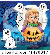 Girl In A Jackolantern Costume With Ghosts