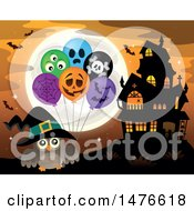 Clipart Of A Witch Owl With Halloween Balloons By A Haunted House Royalty Free Vector Illustration by visekart