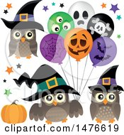 Clipart Of Witch Owls With Halloween Balloons Royalty Free Vector Illustration