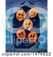Clipart Of A Haunted Hallway With Jackolantern Balloons Royalty Free Vector Illustration by visekart
