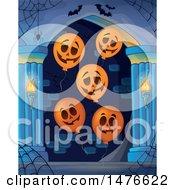 Clipart Of A Haunted Hallway With Jackolantern Balloons Royalty Free Vector Illustration