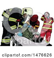 Clipart Of A Paramedics Team Tending To A Patient Royalty Free Vector Illustration